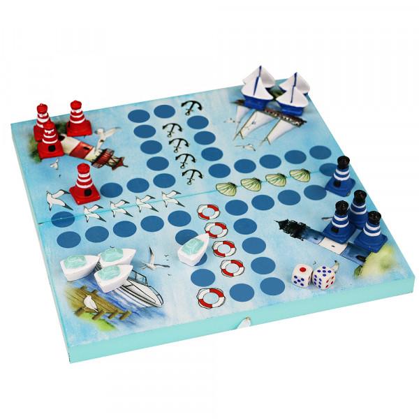 """Würfelspiel """"Leuchtturm-Boote"""", blau"""