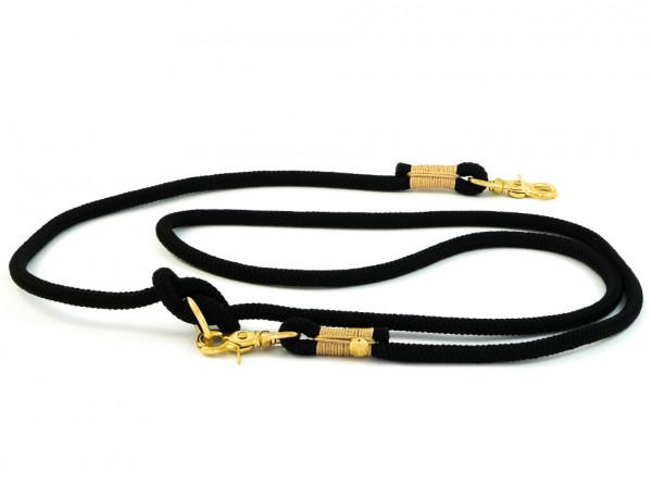 """Hunde-Führleine """"Sylt"""" aus Segeltau, einfach verstellbar, schwarz-sand, 10 mm"""