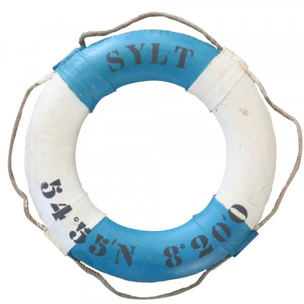 Sylt-Rettungsring mit Insel-Koordinaten, blau-weiß, 75 cm