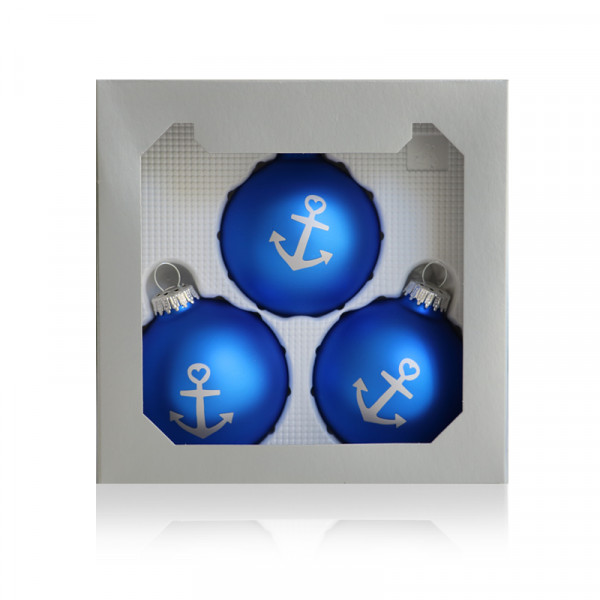 Anker-Weihnachtskugeln im 3er-Set, blau-silber