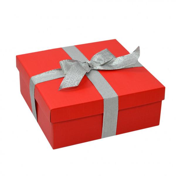 Geschenk-Karton mit Schleife, Größe S, rot