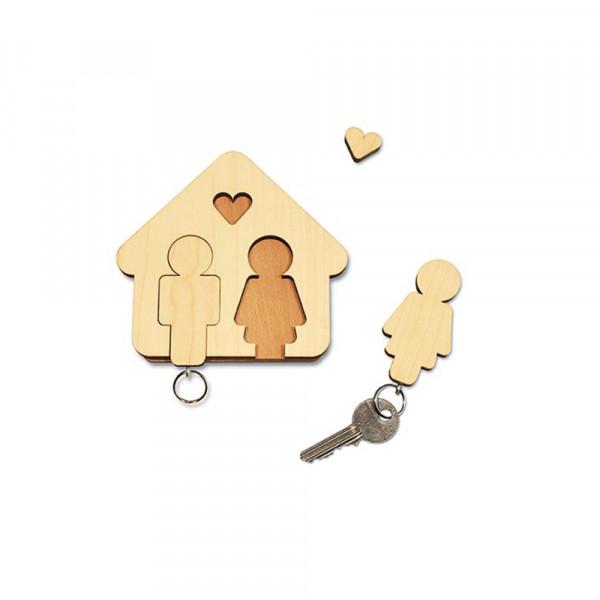 """Schlüsselbrett """"Home Sweet Home"""" aus Holz, Mann & Frau"""