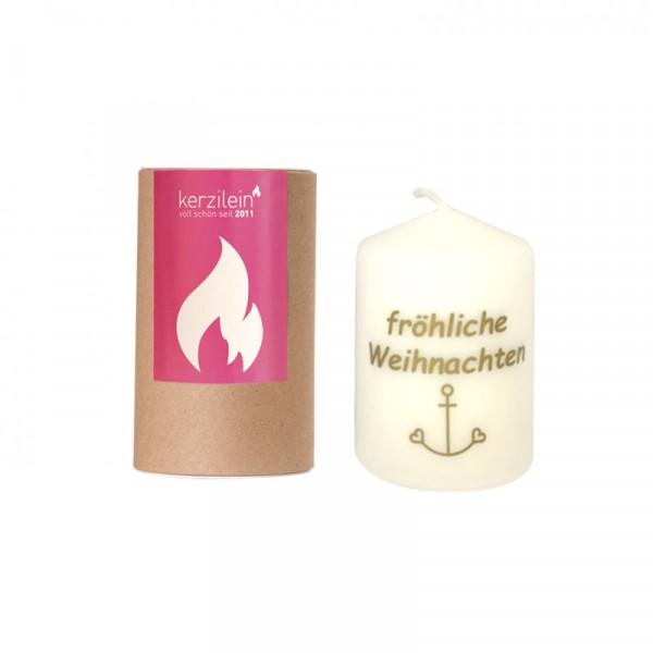 """""""Fröhliche Weihnachten""""- Kerze inkl. Geschenkdose, gold"""