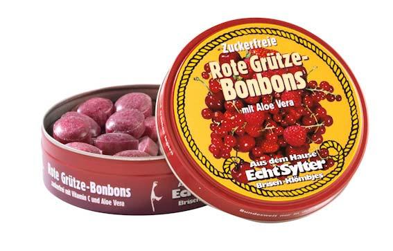 Echt Sylter Brisen-Klömbjes, zuckerfreie Rote Grütze-Bonbons