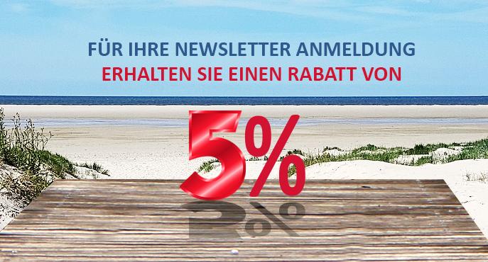 Für den Newsletter anmelden und 5% sparen.