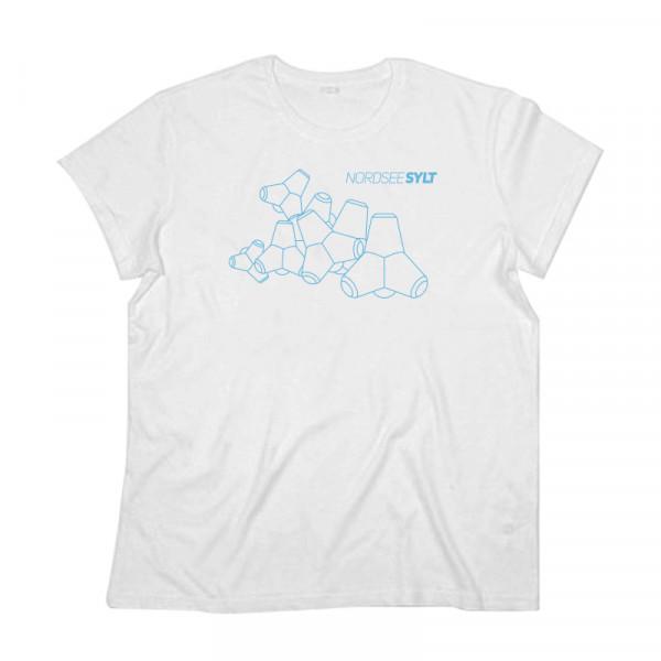 """T-Shirt """"Sylt Tetrapoden Kontur"""" für Herren, weiß"""