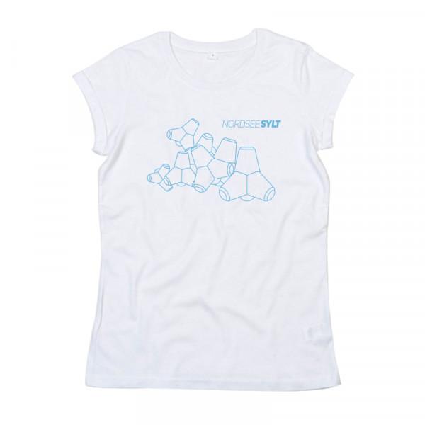 """T-Shirt """"Sylt Tetrapoden Kontur"""" für Damen, weiß"""
