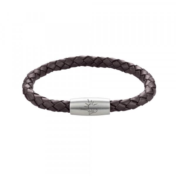 """Armband """"Büsum"""" aus Rindsleder (6 mm), geflochten, matt"""