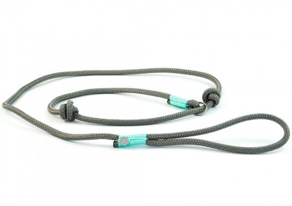 """Retrieverleine """"Sylt"""" aus Segeltau, feste Handschlaufe, grau-mint, 10 mm"""