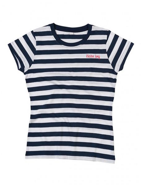 """T-Shirt """"Küsten Jung"""" für Herren, blau-weiß gestreift"""