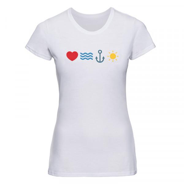 """""""love sea anchor sun"""" Damen T-Shirt"""