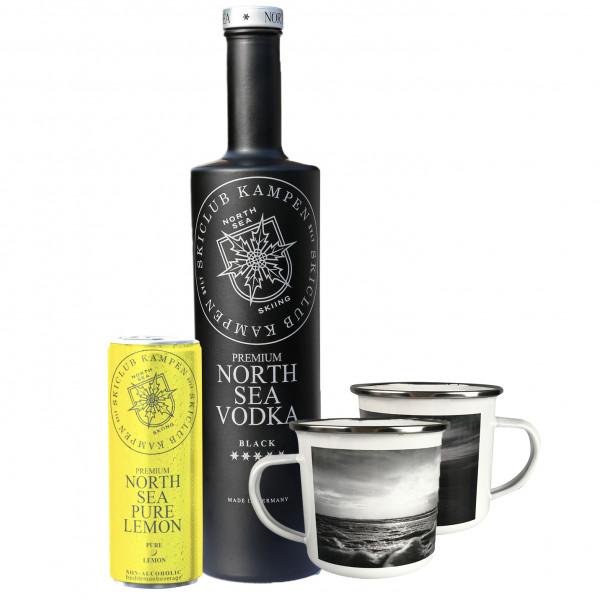 """North Sea Vodka-Set """"Skiclub Kampen """" mit Pure Lemon und 2 Emaille-Becher"""