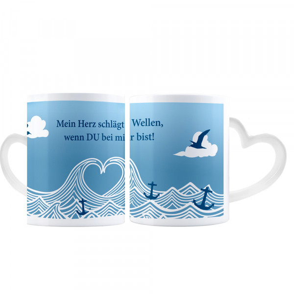 """Becher """"Mein Herz schlägt Wellen"""" mit Herzhenkel"""