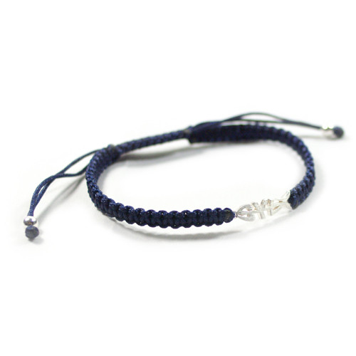 SYLTFISCH-Armband, Makramee & Sterling-Silber, klein, versch. Farben