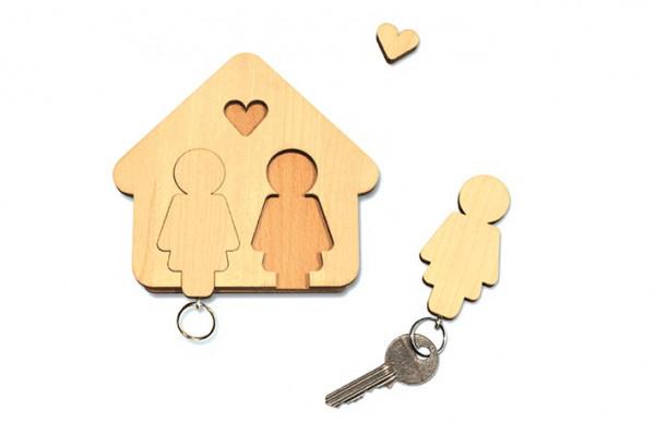 "Schlüsselbrett ""Home Sweet Home"" aus Holz, Frau & Frau"