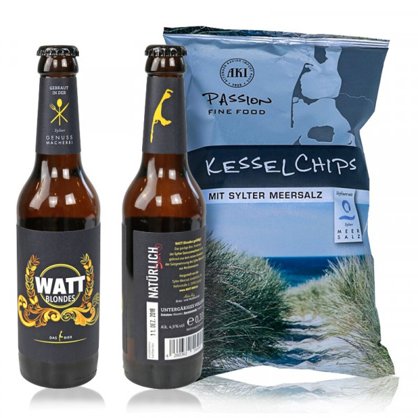 Sylter Bier-Set: WATT Blondes & Kesselchips