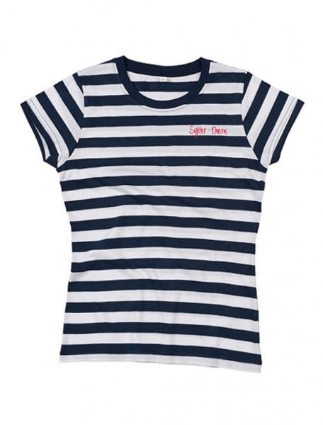 """T-Shirt """"Küsten Deern"""" für Damen, blau-weiß gestreift"""