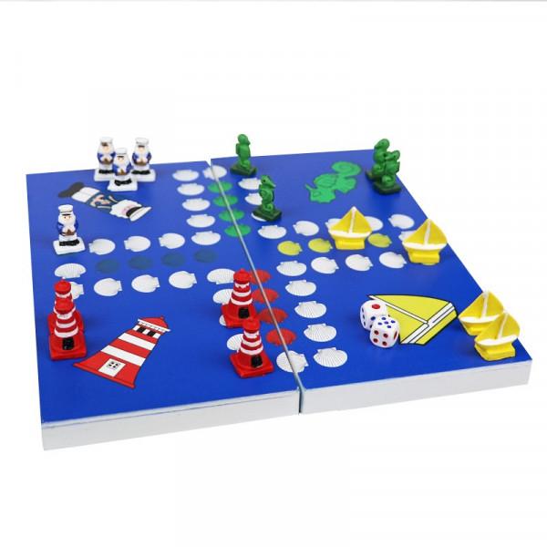 Maritimes Brettspiel für 2-4 Personen, dunkelblau