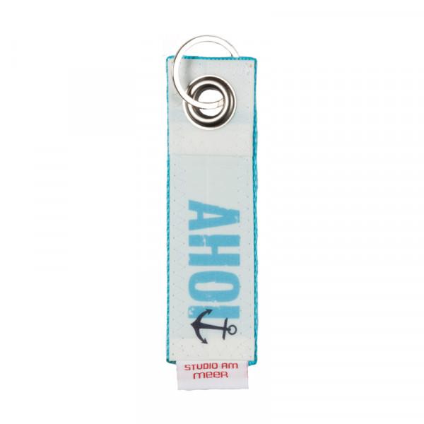 """Schlüsselanhänger """"AHOI"""" aus Segeltuch, 12 x 4 cm, versch. Motive"""