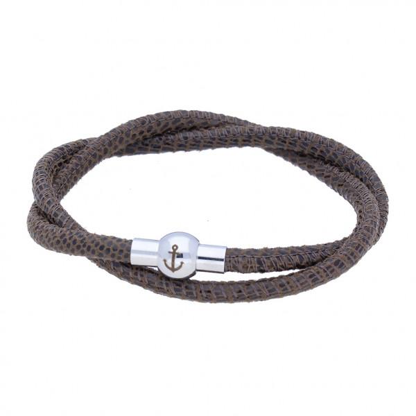 Anker-Armband aus Nappaleder (4 mm) mit Echsenprägung