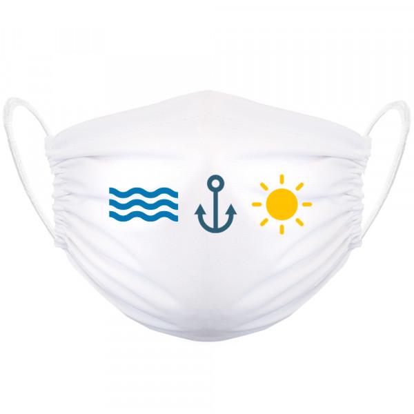 """sea anchor sun"" Gesichtsmaske weiß"