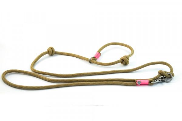 """Retrieverleine """"Sylt"""" aus Segeltau, verstellbare Handschlaufe, natur-rosé, 8 mm"""