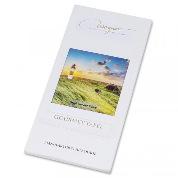 """Wagner Manufaktur-Schokolade, Küstenedition """"Leuchtturm"""", Edelvollmilch, 80 g"""