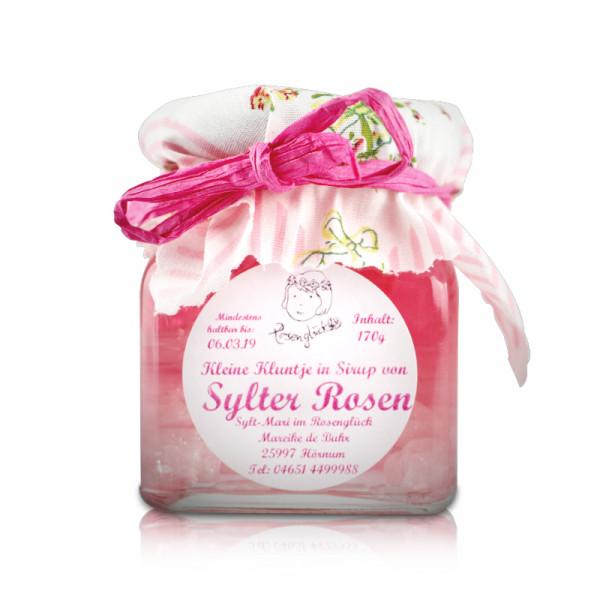 Kleine Kluntjes/Kandis in Sirup von Sylter Rosen, 170 g Glas